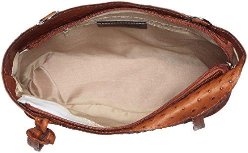 CTM Tasche Damen Leder Schulter Strauß, 28x30x9cm, 100% echtes Leder Made in Italy Orange (Cuoio)