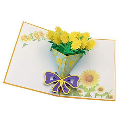 Xshuai Grußkarte 3D Pop up Karten Valentine Geburtstag Jahrestag Weihnachten Thanksgiving Halloween Mode Hohe Qualität Postkarte (Chrysantheme)