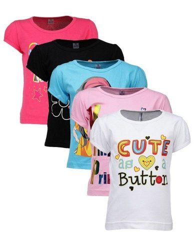 Goodway Junior Girls 5 Pack Attitude Theme Combo Pack of 5 T-Shirts (Multicolor_5-6 Years)