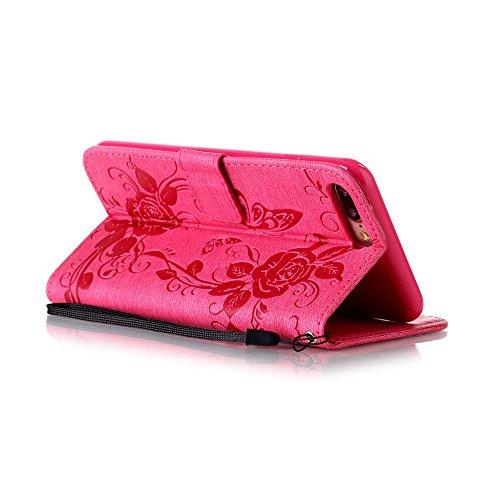 EUWLY Protettiva Case Cover per iPhone 7 Plus/iPhone 8 Plus (5.5) Custodia Portafoglio in PU Pelle Cover Elegant Premium PU Leather Wallet Cover Goffratura Farfalla e Fiore Rosa Design Pelle Custodia Fiore Rose Farfalla,Rosa Caldo
