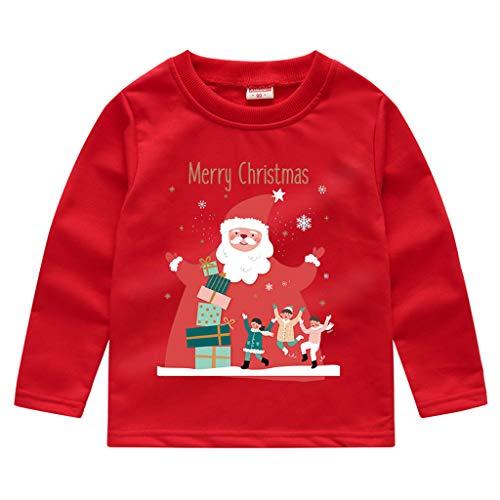 Zegeey Kinder Baby Jungen MäDchen Langarm Sweatshirt T-Shirts Pullover Mit Tier Cartoon Druck Party Weihnachts KostüM Festliche Geburtstag Geschenk(A3-rot,110-120)