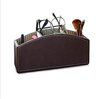 Addfun reg;Leather Rectangle Desktop Pencil/Pen Holder Cup Pen Pot Holder Pen Container Luxury Remote Control Holder(Brown)