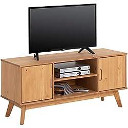 IDIMEX Meuble TV Tivoli Banc télé de 114 cm au Style scandinave Design Vintage Nordique avec 2 Portes et 2 niches, en pin Massif Finition Bois Naturel teinté