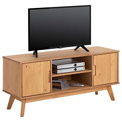 IDIMEX Lowboard Tivoli im skandinavischen Design, Fernsehtisch Fernsehschrank im nordischen Stil, aus massiver Kiefer, 2 Türen, gebeizt