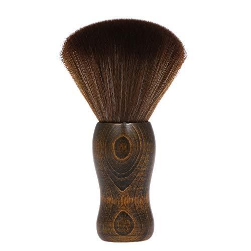 Barbiere Collo Spolverino Pennello, Anself barbiere spazzola per viso Spazzola per polvere -Spazzola per capelli in nylon morbidManico in legno Strumenti