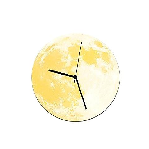 YU-K 30 Cm Kreative hell leuchtenden Mond Wanduhr Wanduhr Wanduhr Acryl wasserdichte Wanduhr Yellow Moon