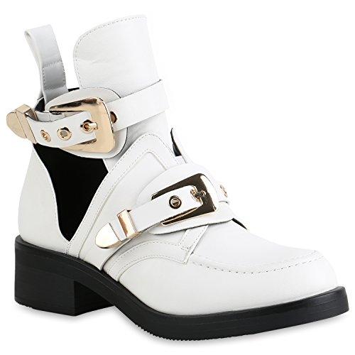 Damen Stiefeletten Ankle Boots Cut Outs Leder-Optik Schuhe Booties 158417 Weiss 37 Flandell
