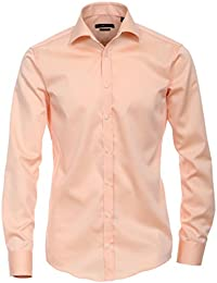 Venti Hemd Apricot Uni Twill Langarm Slim Fit Tailliert Kentkragen 100% Feinste  Baumwolle Popeline Bügelfrei 557cd12af1
