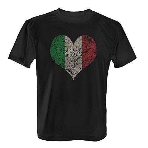 Fashionalarm Herren T-Shirt - I Love Italy | Fun Shirt Trikot mit Vintage Flagge Print für Fußball & Italien Fans | Mittelmeer Urlaub | EM & WM, Farbe:schwarz;Größe:M