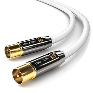 deleyCON 10m TV Antennenkabel Koaxialkabel TV Kabel HDTV Full HD - TV-Stecker zu TV-Buchse - Metallstecker - Analog Digital - Weiß