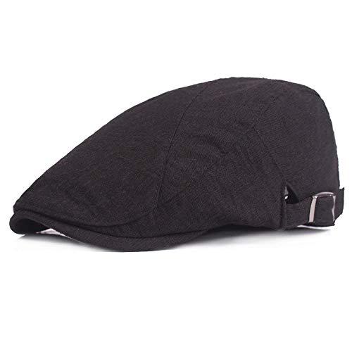 Kostüm Black Ivy - Shining-hat Barette für Herren Schirmmützen Schiebermütze Hooligan gekämmter Baumwolle Baumwoll- und Leinen-Barett-Entenschnabelhut mit männlicher und weiblicher Schirmmütze im Freien @ Schwarz