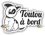 Sticker Toutou à Bord - Autocollant - Largeur 16 cm/Hauteur 11 cm - Chien Club canin