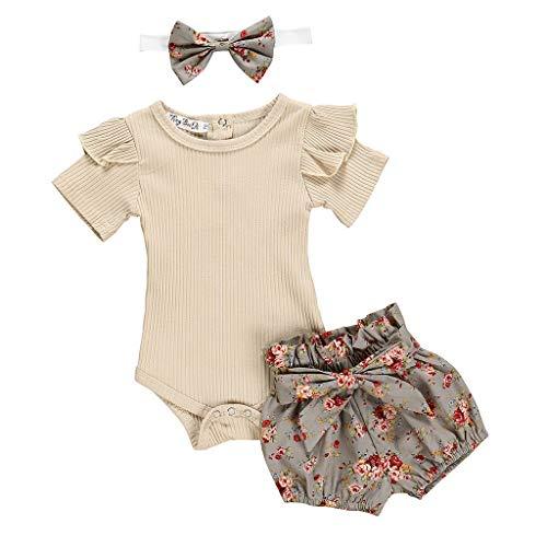 Beikoard Babykleidung Neugeborene Mädchen Outfits Kleidung Sommer Mädchen Kleidung Bekleidungssets Strampler + Shorts mit Blumenmuster Trainingsanzug Kleidung Taufbekleidung