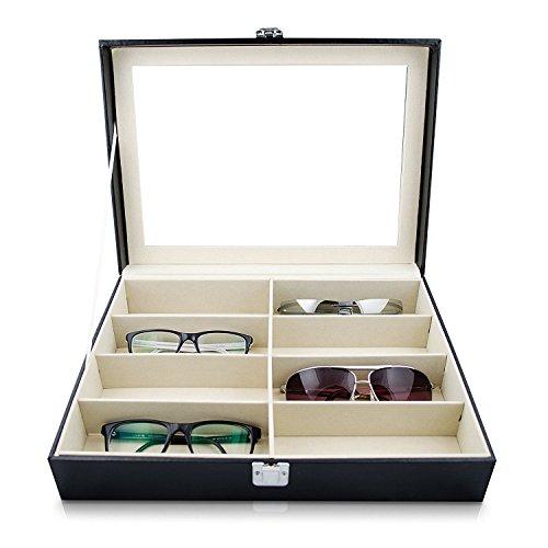 REFURBISHHOUSE Brillen Sonnenbrille Aufbewahrungsbox Kunstleder Brille Vitrine Speicher Organizer Kollektor 8 Schlitz