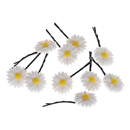 Watermk 10 Teile/satz Nette Weiße Gänseblümchen Blumen Haarschmuck Haarspangen Elastisches Haar Seil