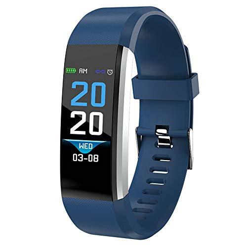 Mamun 2019 Nuevo Fitness Tracker Color Screen Heart Rate Monitor Blood Presure Smart Bracelet,Cámara remota, monitorización del sueño (Azul)