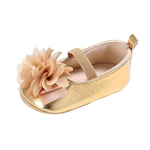 BZLine® Baby weichen Sohle Krippe Kleinkind Neugeborenes Anti-Rutsch Schuhe Gold