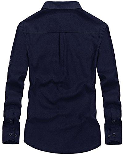 WS668 Herren 100% Baumwolle Casual Shirt Kariert Tops Gute Qualität Buttons Check Lange Ärmel Leicht Militär Hemd Mens Long Sleeve Shirt Weiß-6802