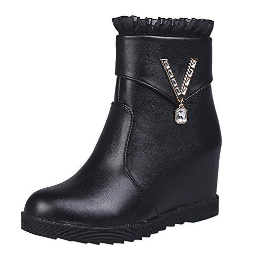 cinnamou Damen Winter Warme Stiefel Flache Spitze Reißverschluss Stiefel Runde Kappe Schuhe