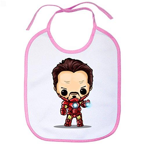Babero Chibi Kawaii Iron Man parodia - Rosa