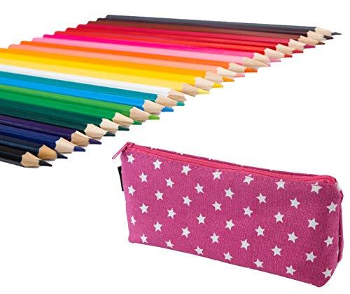 Exerz art expc24b 24 pezzi matite colorate in un porta penne - penne a sfera punta fina, colore vivace, grande scorrevolezza, comprende penne lucide, neon, neon metalliche e neon glitter - viola