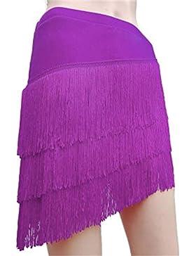 Salón de baile latino Salsa Tango Cha Cha Vestido de falda de baile Rumba Skate Wrap Scarf Dancewear With Tassel