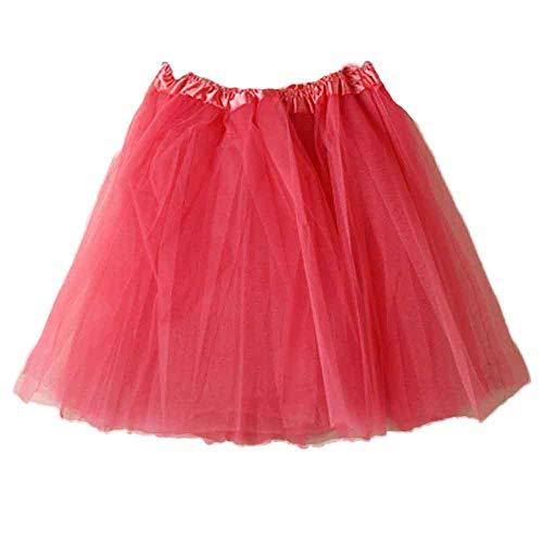 Andouy Damen Tutu Rock Mini Tüll Organza Petticoat Balletttanz Layred Kostüm Dress-up Sexy Größe 34-44(34-44,Wassermelonenrot)