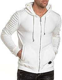 Project X - Gilet zippé homme blanc à capuche effet daim