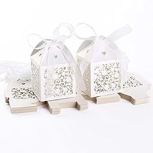 25 Pezzi Carta per bomboniera Confetti di Battesimo, Matrimonio, Comunione Fiore Cuore Bianco Traforato con Nastro di Raso