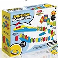 Emoji Domino Run Toy Fun Domino Rally Tiles Set Game Kids Party Gift Travel Toy - Emoji Themed Domino Rally Set