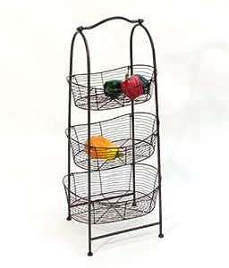 Pr sentoir 3 tages corbeille fruits en m tal marron fonc h90cm cuisine maison - Corbeille a fruits 3 etages ...