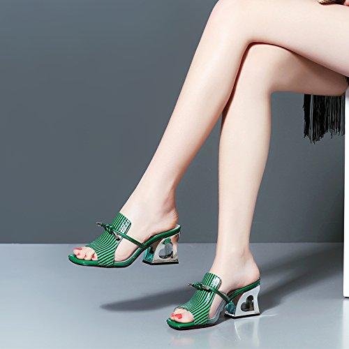 ZYUSHIZ Frau Bow Tie coole Hausschuhe High-Heel Sandalette Leder Das erste Feld Hausschuhe Bold Text mit Sandalen Grün