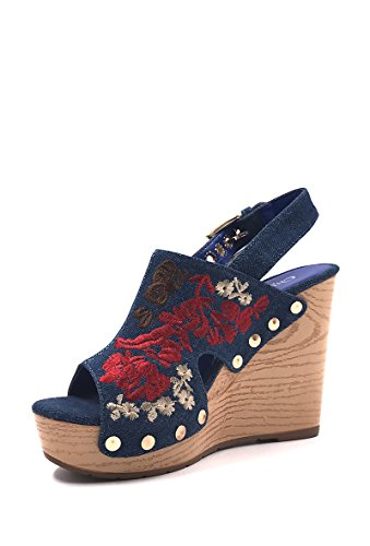 CHIC NANA . Chaussure Femme Mode Sandale Sabot compensée motif fleur. Bleu foncé