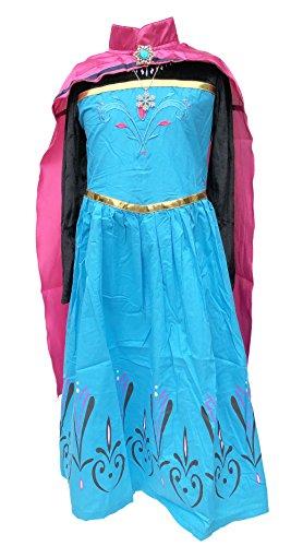 Frozen Elsa Kostüm - La Senorita ELSA Frozen Kostüm Krönung Eiskönigin Kostüm Prinzessinnen Kleid + Gratis Frozen Kette (Größe 4-5 Jahre - 104-110 (120))