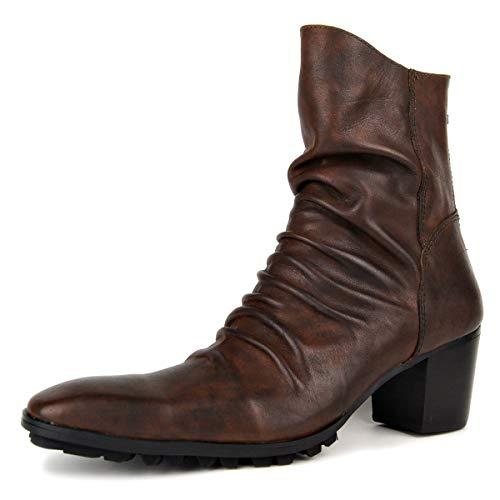MERRYHE Mens Cuban Heel Stiefeletten, Vintage Cowboystiefel, Martin Stiefel, Reitstiefel, Männer Casual Booties,Brown-46 -