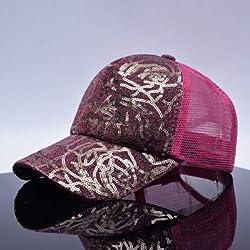 qqyz2323 Paillette Bling Shinning Mesh Baseball Cap Herren auffällig Einstellbare Frauen Mädchen Hüte für Party Atmungsaktiv Kappe Verstellbar Pink