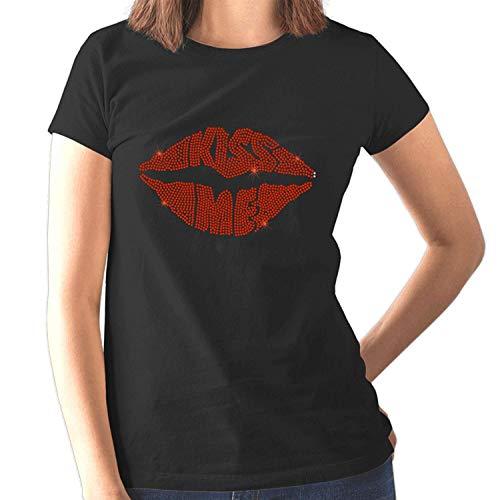 Roll Kostüm And 1960 Rock - Kiss Me Rote Lippen Damen Figurbetont T-Shirt - Strasssteine Design - 1960er Jahre 70er Jahre 80er Jahre - Rock and Roll - Retro Disco - Kostüm - (Größe 6 bis 16) - Schwarz, 8 MEDIUM