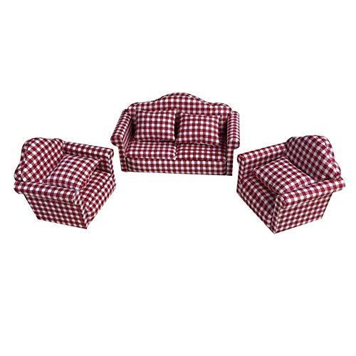 CAheadY 3 Teile / Satz 1/12 Miniatur Puppenhaus Floral Sofa Dekokissen Möbel Kinder Spielzeug Red Lattice -