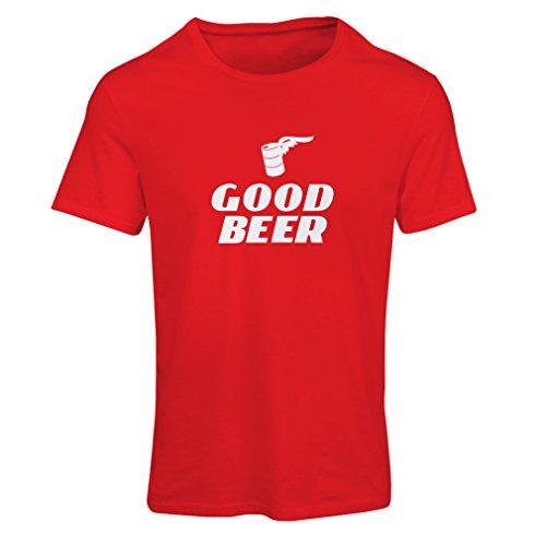 lepni.me Frauen T-Shirt Ich Brauche EIN gutes Bier, Geschenk für Bierliebhaber Partykleidung (X-Large Rot Weiß)
