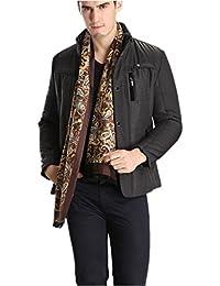 Prettystern - 2 plis longue 100% Echarpe SOIE Hommes - crêpe satin soie et velours de soie - sélection de couleur douce et chaude et