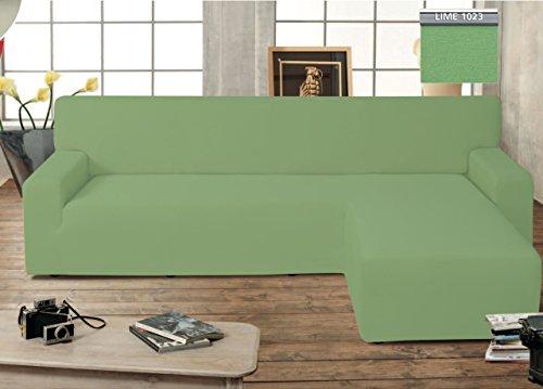 BIANCHERIAWEB Copridivano Genius con Penisola Chaise Longue Modello Swing Colore Verde Lime Destra Lime