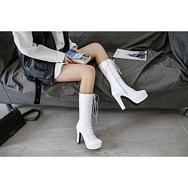 GLL&xuezi Da donna Stivaletti Anfibi Stivali da equitazione Primavera Inverno Finta pelle Casual Quadrato Bianco Nero Verde 10 - 12 cm white