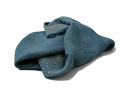 Schal, graue Decke mit goldenen Punkten, Naturstoffe, Hanf, Jute, besonderes Geschenk, Bettwäsche von BeccaTextile. -