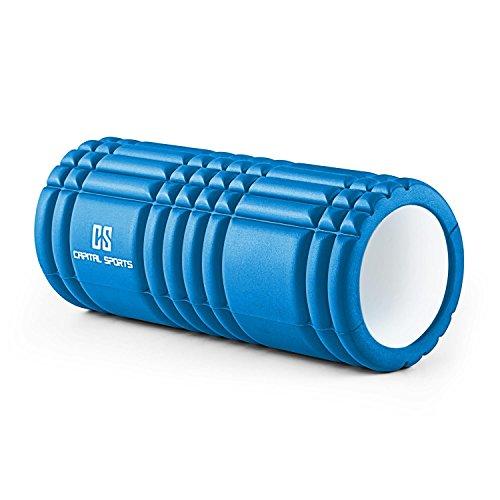 Capital Sports Caprole 1 Massageroller Schaumstoffrolle tiefenwirksame Yoga- Reha- und Massagerolle aus Schaumstoff ( 33 x 14 cm Rolle, Riffel- und Noppen-Oberfläche) blau
