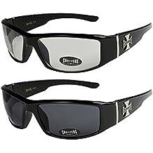 X-CRUZE® 2er Pack Choppers 6608 X 07 Sonnenbrillen Unisex Herren Damen Männer Frauen Brille - 1x Modell 01 (schwarz glänzend/schwarz getönt) und 1x Modell 05 (schwarz matt/schwarz getönt) dqBRYaTuCx