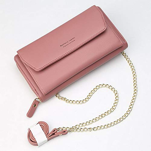 Leobtain Small Bag Women PU Leather Cellphone Purse with Metal Chain Strap Wallet Cross-Body Bag Leather Purse Coin Cell Phone Pouch Card Shoulder Wallet Bag Adjustable Strap Credit Card Hold Phone Conran White