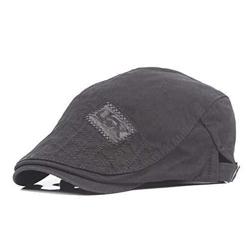Rolcheleego - Sombrero de Boinas Unisex Adulto de Algodón para Verano Sombrero Plano del Sol Ajustable Gorra Visera Newsboy Hat Flat Cap Simple - Negro