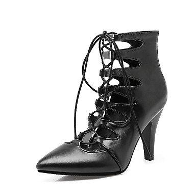 LvYuan Damen-Sandalen-Lässig-Kunstleder-Konischer Absatz-Club-Schuhe-Schwarz Rot Beige Black