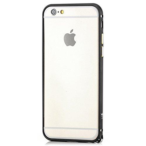Saxonia Custodia + 2x Vetro Temperato Apple iPhone 7 Ultra Slim Custodia di alluminio Case Cover Slim Bumper Telaio del Respingente Antiurto | Alta Qualità di Protezione Sottile e Elegante Design Jet  Nero