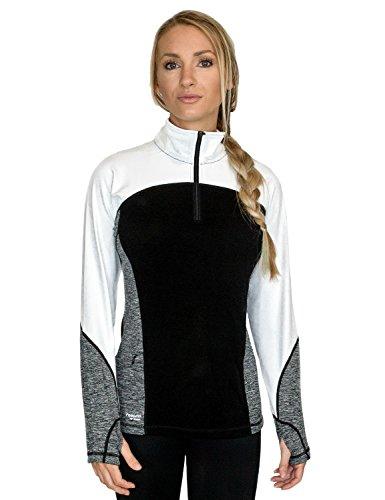 WoolX Damen Quarter Zip Pullover-Feuchtigkeitstransport Merino Wolle Pullover, Damen, Black Melange -